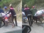 Xe tải gây tai nạn đánh rơi đạm bỏ chạy, dân tranh nhau đem về nhà