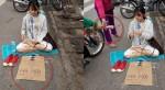 Cô gái trẻ đẹp ngồi trên đường xin tiền về Hà Nội gây ngỡ ngàng