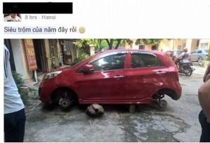 Xe Kia Morning đỗ vỉa hè bị trộm