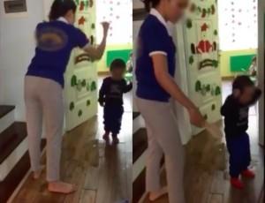 Clip nhiều bé bị cô giáo mầm non dùng dép đánh vào đầu, nhéo tai chửi mắng gây phẫn nộ