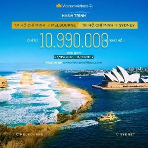 Giá vé khứ hồi Việt Nam đi Úc của Vietnam Airlines chỉ từ 10.990.000 đồng