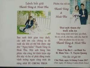 Thiệp cưới ghi lệnh bắt giữ và phiên tòa xét xử chú rể - cô dâu ở Tuyên Quang