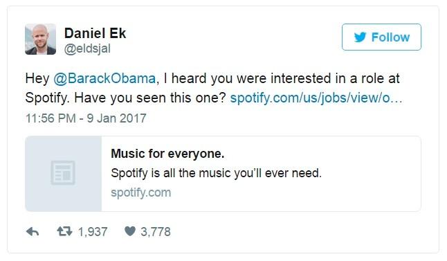 'Không lo thất nghiệp, Obama được hãng nhạc mời làm việc