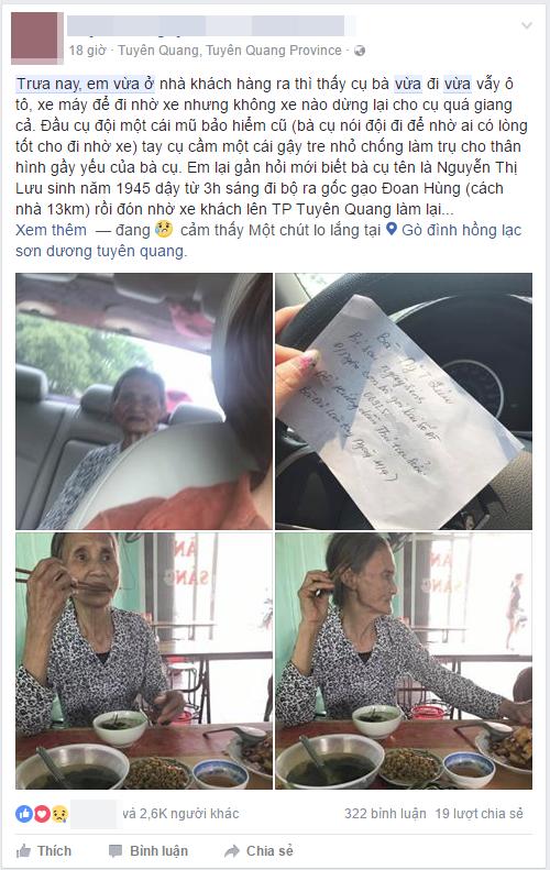 Cụ bà chống gậy đi bộ suốt 9km với 5.000 đồng trong túi, và hành động đẹp của người phụ nữ Tuyên Quang